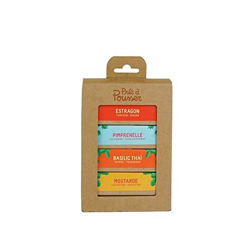 Prêt à Pousser 4-Packung Kapseln für Lilo und Modulo, Ihr Indoor-Garten – Senf - Estragon – Thai-Basilikum – Kleiner Wiesenknopf – Die Geheimwaffen der Sterneköche