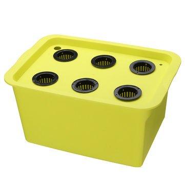 ExcLent 220V Hydroponic System Kit 6 Löcher Dwc Aerobic Soilless Anbau Indoor Wasser Pflanzen Grow Box - grün