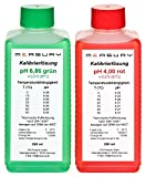 Measury pH Kalibrierlösung 4.00 und 6.86, pH Pufferlösung je 250ml, Eichlösung Rot/Grün, Kalibrierflüssigkeit Set Eichflüssigkeit
