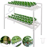 HUKOER 2 Schichten 72 Pflanzen Standorte Hydrokultur Standort-Kit 8 Rohre Hydroponic-Pflanzsystem Wasserkultur-Gartenpflanzensystem und Hydroponik-Experiment, Gemüse, Salatgrün, Blumen, Früchte