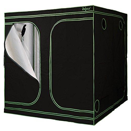 Zelsius Growzelt MyHomeGrow Grow Tent | Indoor Growbox | schwarz grün | Growroom Growschrank Darkroom Pflanzenzelt Gewächshaus Zuchtzelt (200 x 200 x 200 cm)