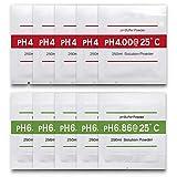 Measury pH Kalibrierlösung 10 Stück 4.00 und 6.86 Pufferlösung, pH Kalibrierpulver Buffer Powder, Eichlösung Rot/Grün