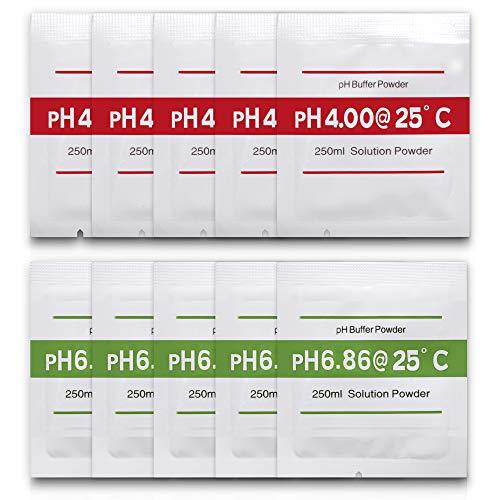 Measury pH Kalibrierlösung 10 Stück 6.86 und 9.18 Pufferlösung, pH Kalibrierpulver Buffer Powder, Eichlösung Grün/Blau