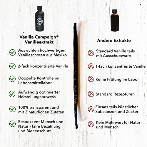 Vanilla Campaign Vanille Extrakt, Ohne Zucker mit Alkohol, 50ml, Aus echten Vanilleschoten, naturbelassen, vegan, fairtrade